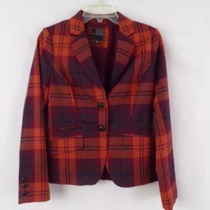 The Limited Orange  & Purple Plaid Blazer sz Small